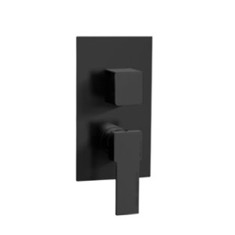 Matte Black Contemporary Built In Three Way Shower Diverter